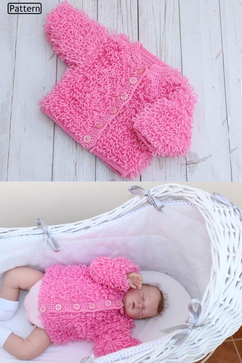 Pink cardigan on baby
