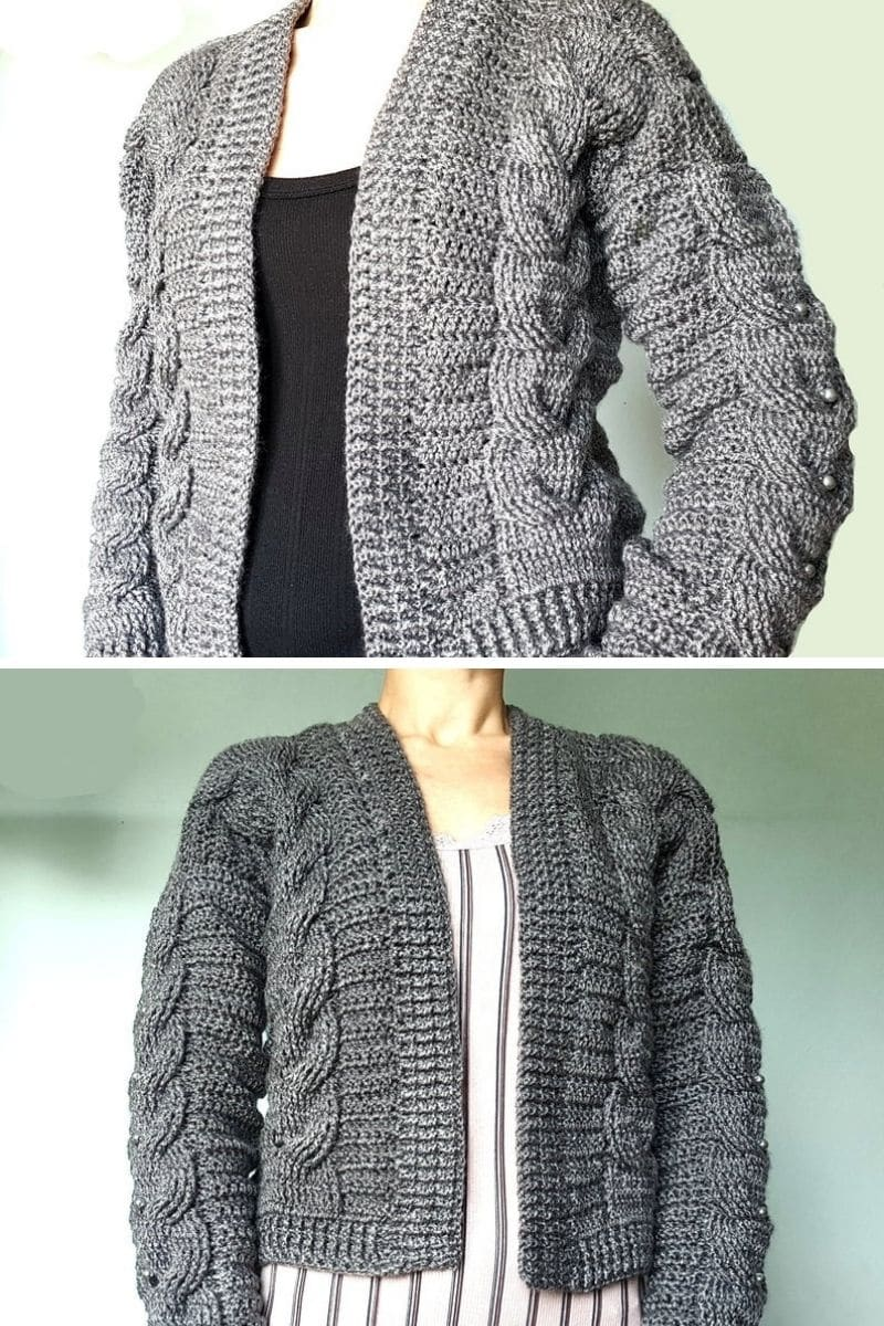 Gray cable sweater cardigan with bead accents