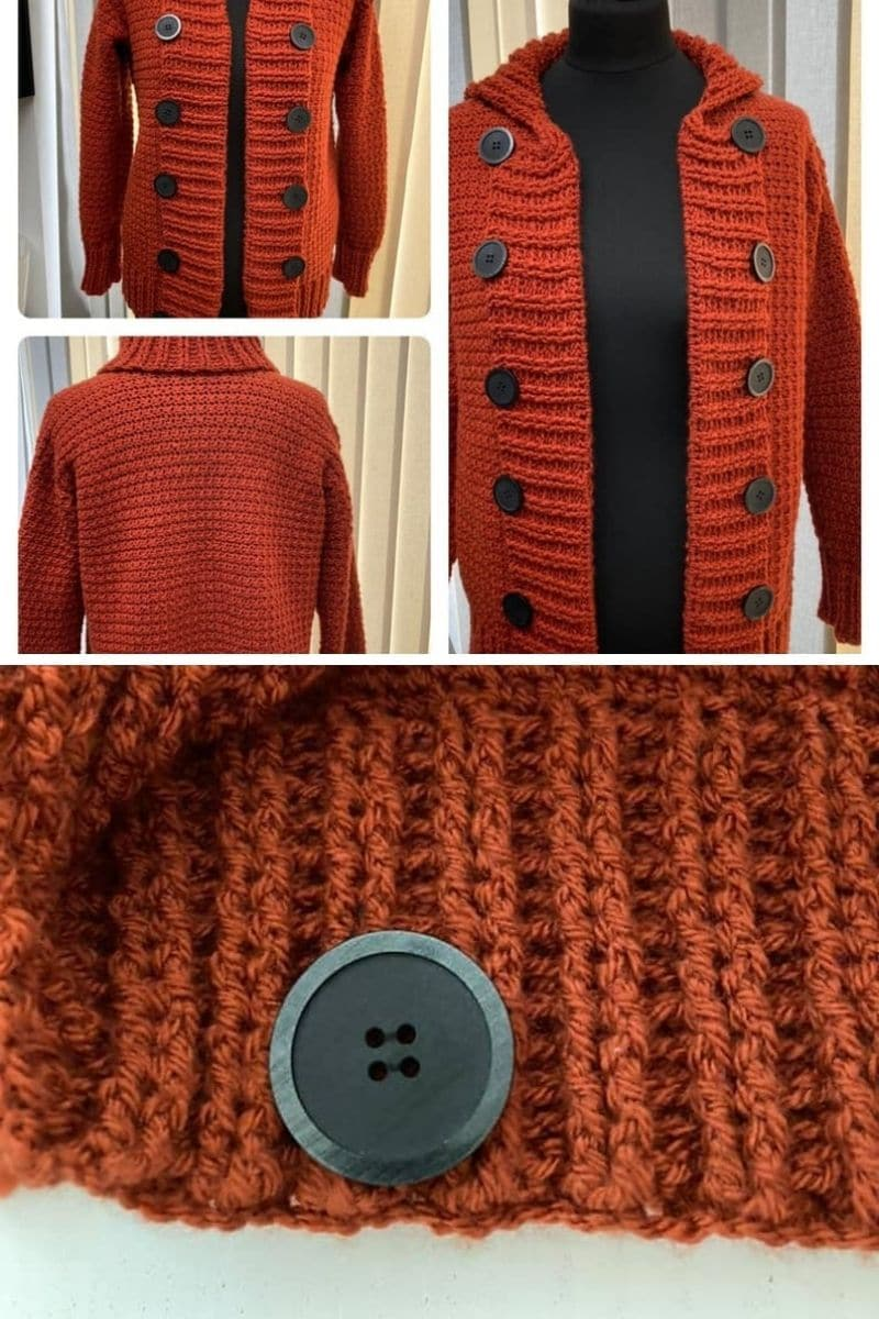 Bunrt orange cardigan with button accent