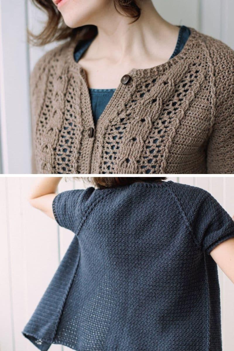 Delciate pattern short sleeve cardigan