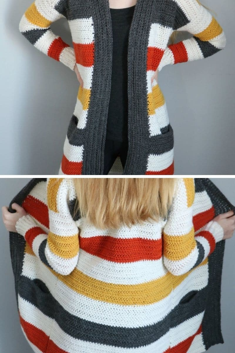 Fall color striped cardigan