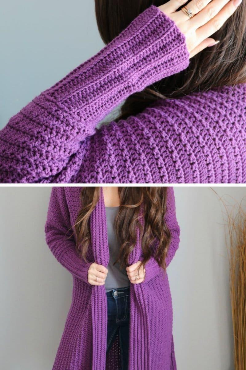 Purple cardigan with cuff sleeves