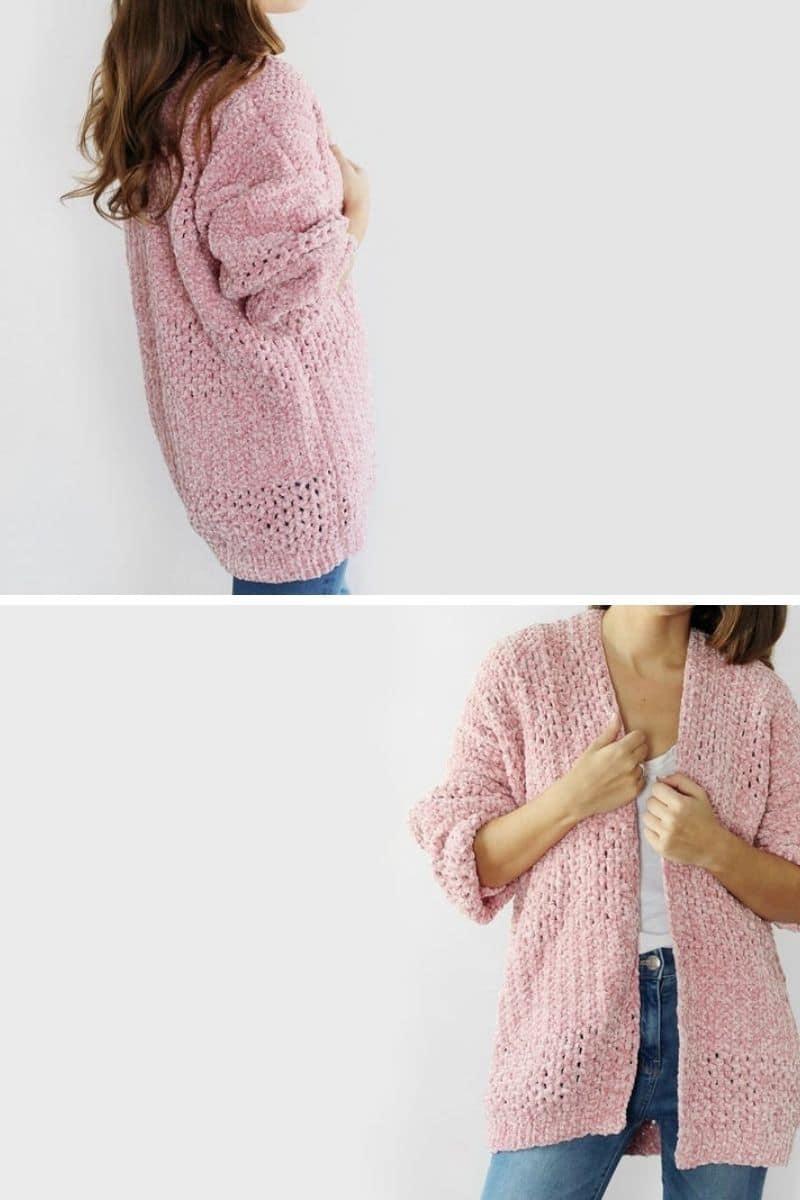 Pink velvet cardigan