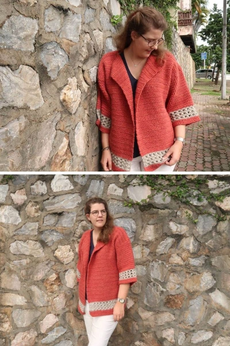 Short sleeve coral cardigan with trim