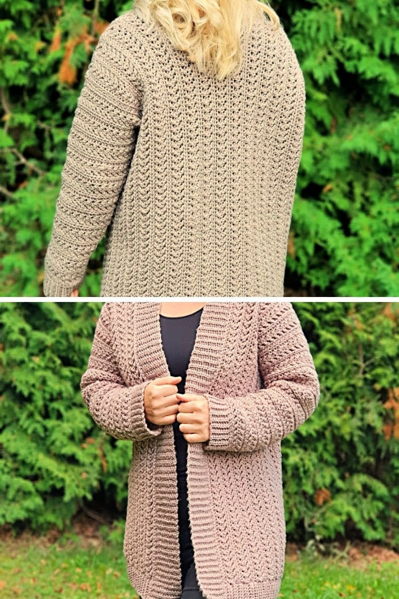 Tan cardigan with open front