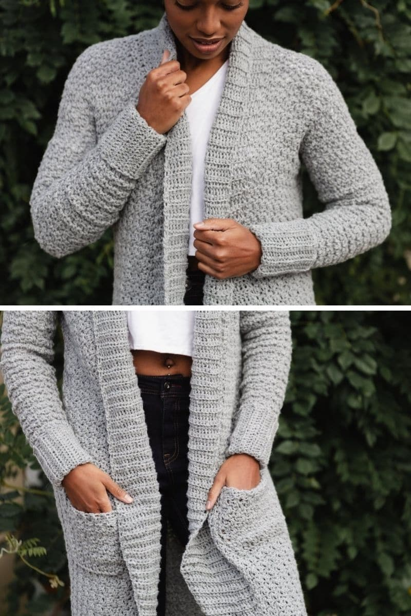 Woman in grey duster with pockets