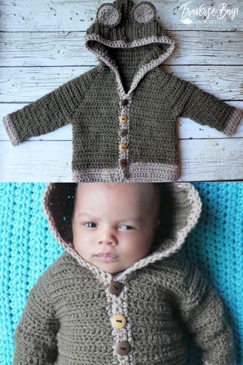 Baby in bear cardigan