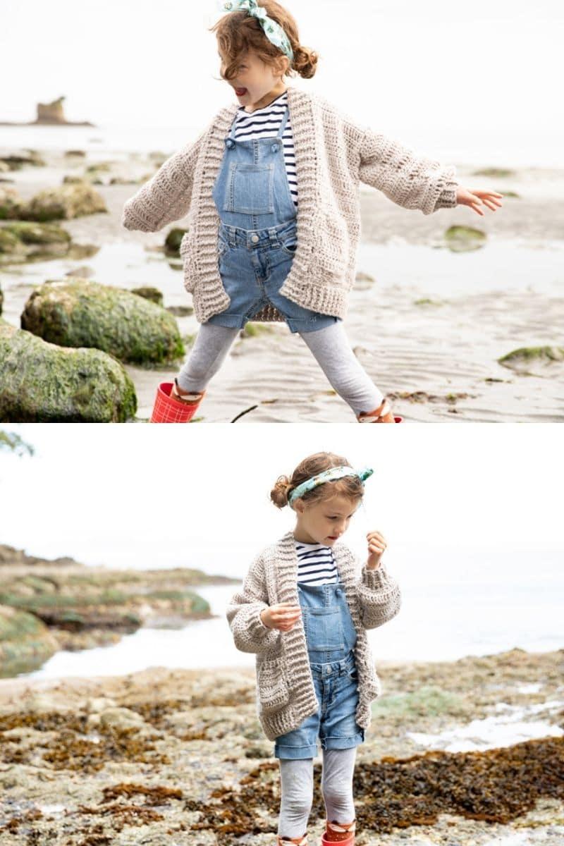 Little girl in tan cardigan