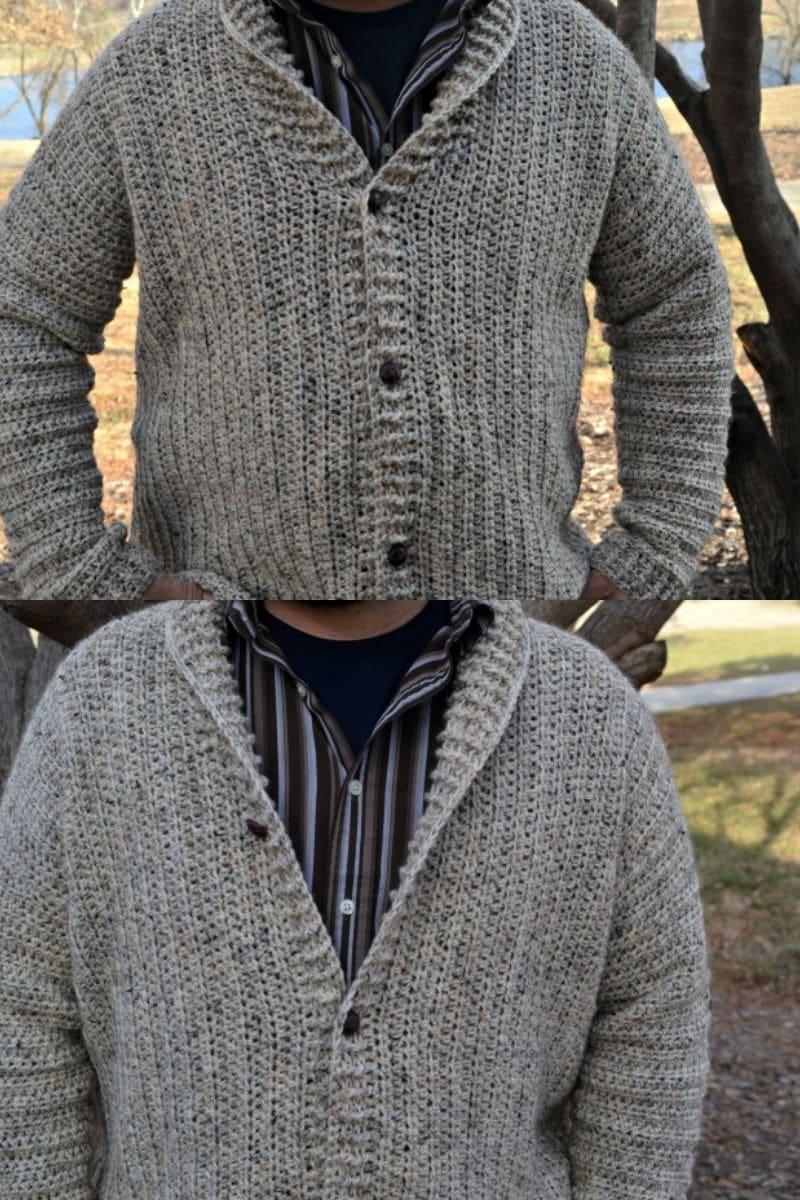 Man wearing button up cardigan