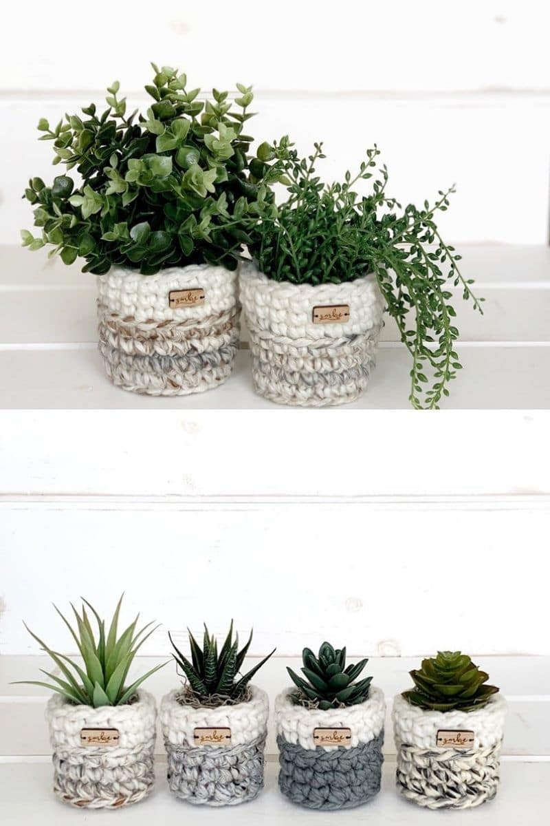 Crochet succulent planter
