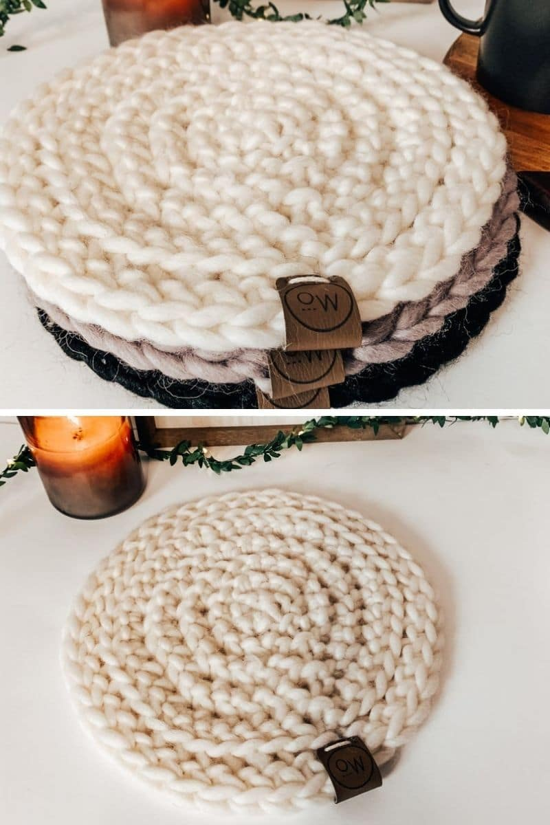 Round woven trivet