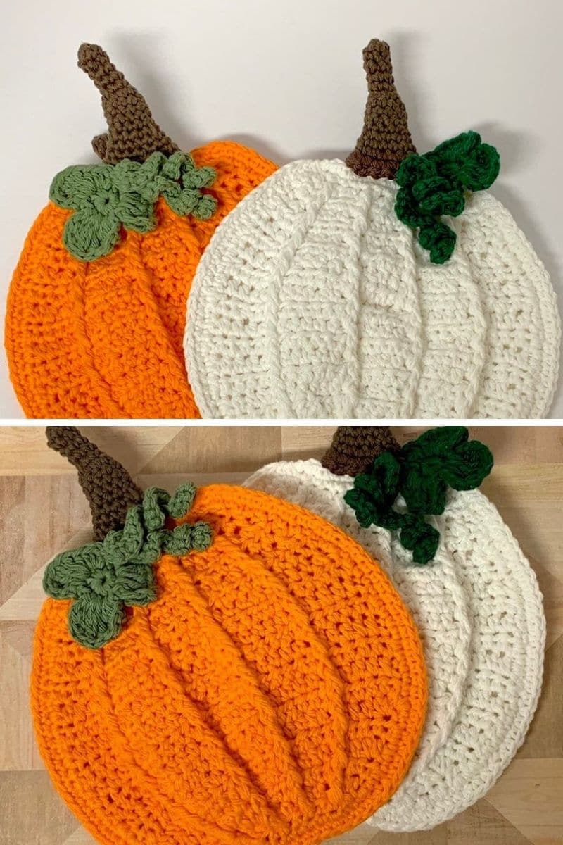 Crochet pumpkin potholder