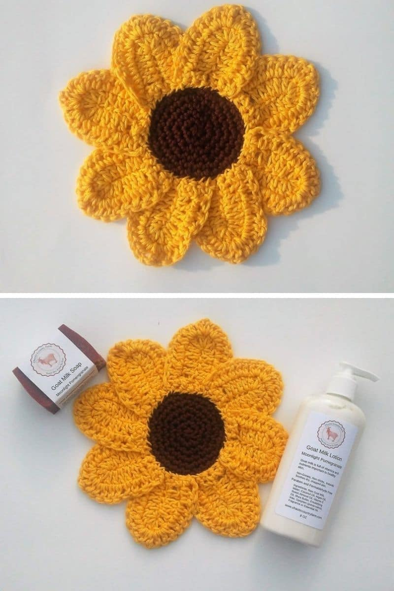 Crochet sunflower potholder