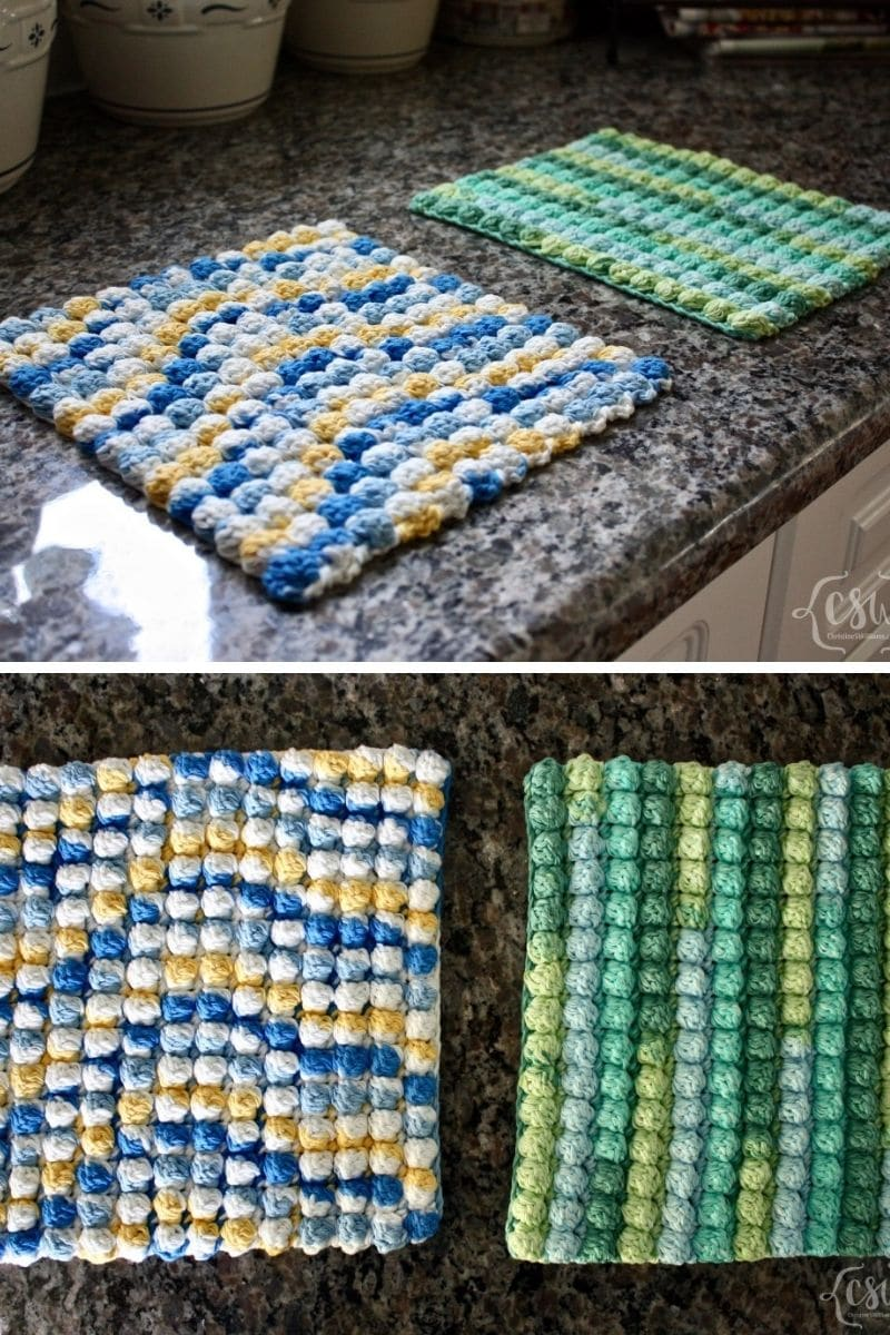 Colorful bobble stitch potholder