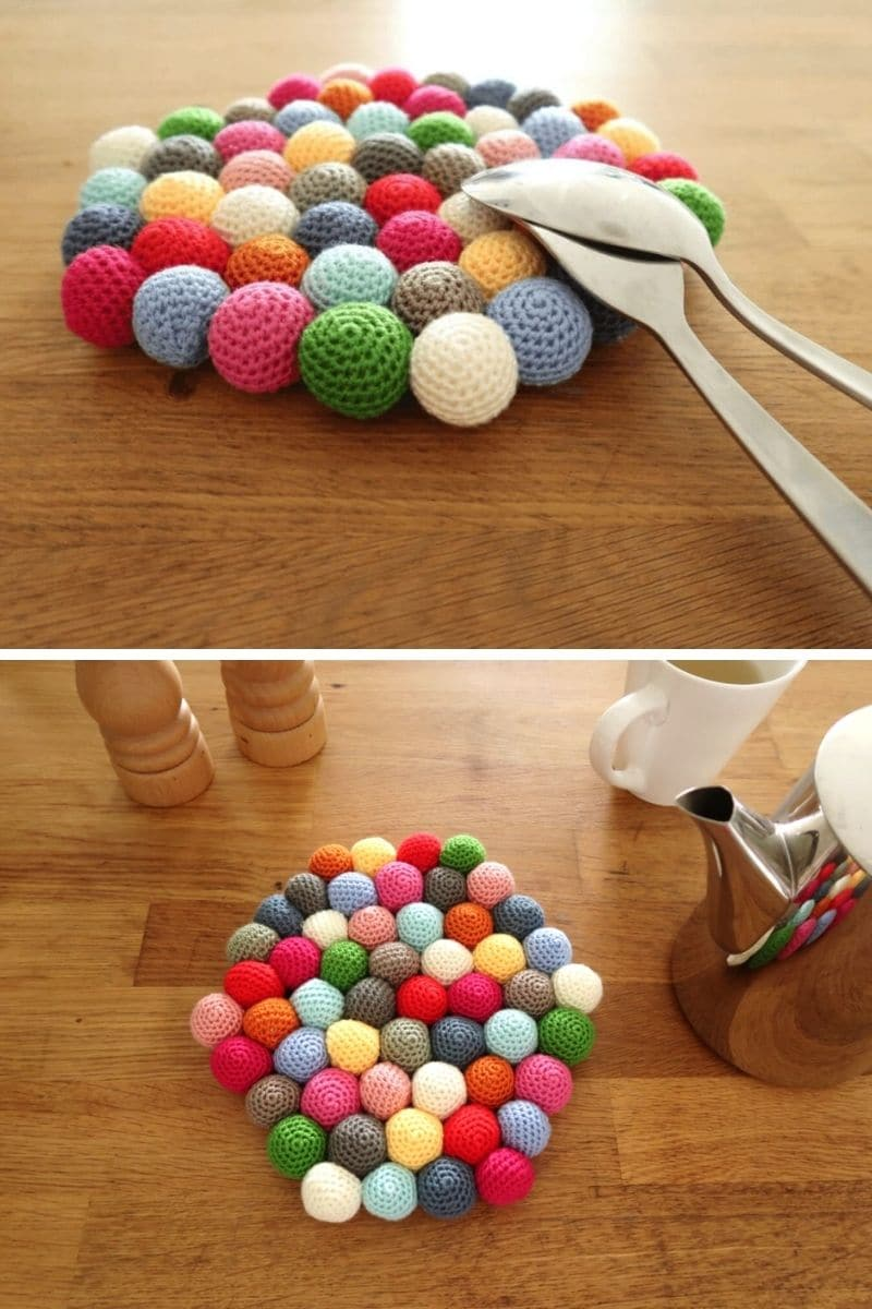 Colorful round potholder