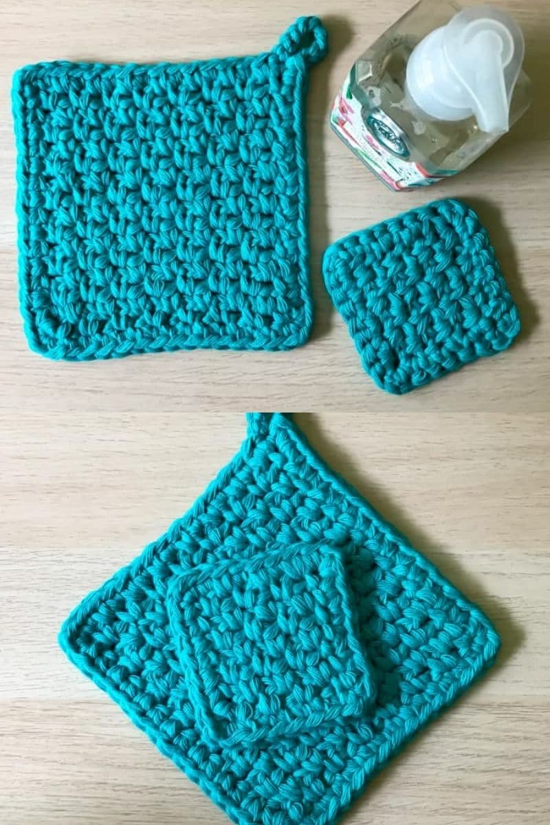 Teal potholder with matching mini