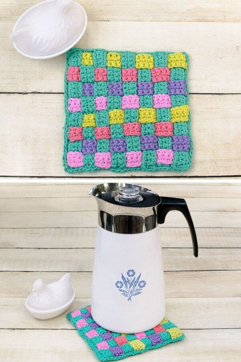 Colorful woven potholder