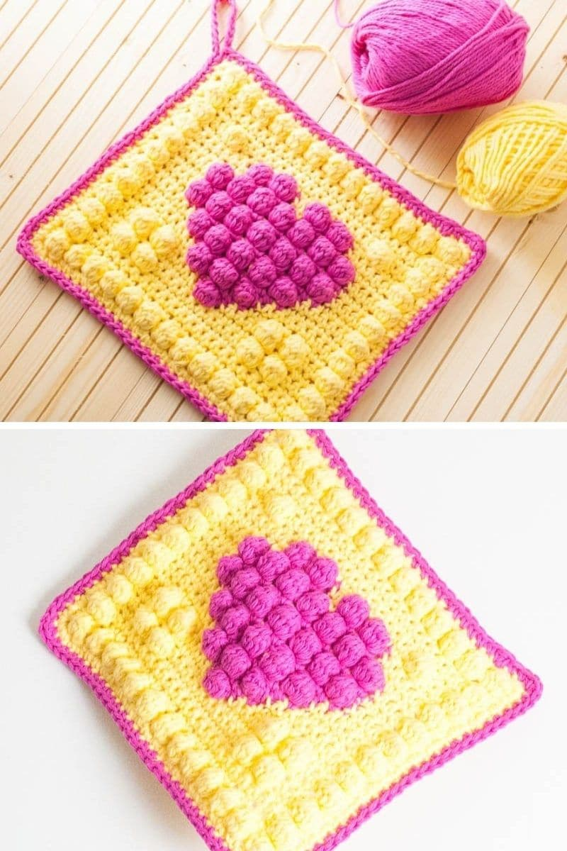Pink and yellow heart potholder
