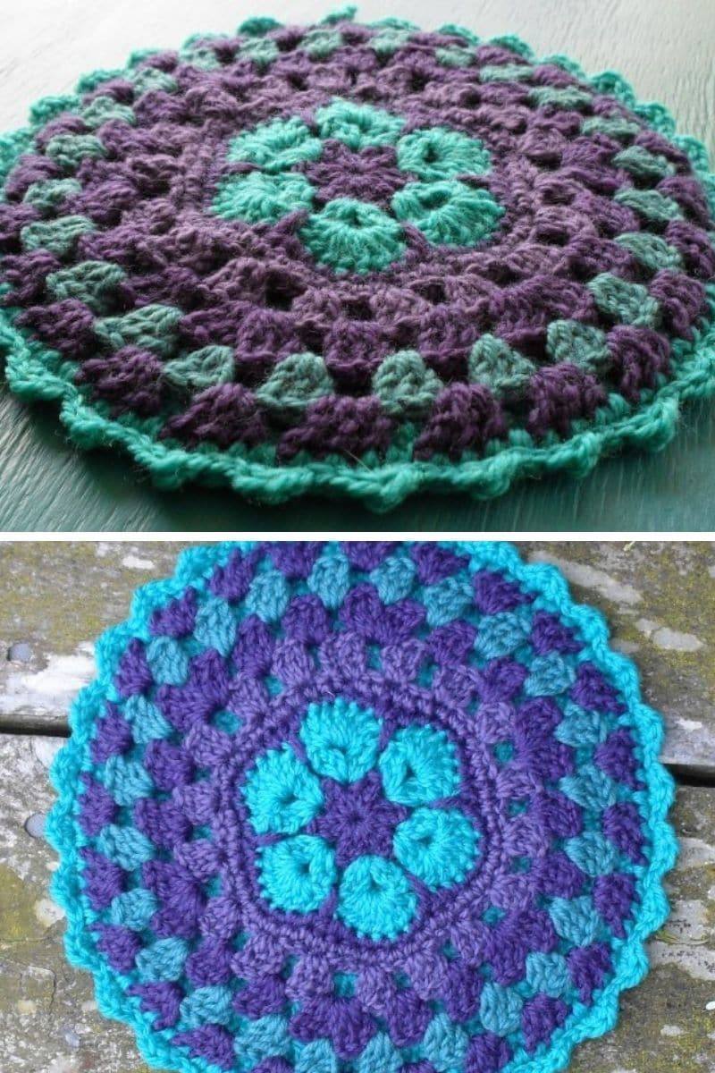 Mandala potholder in teal