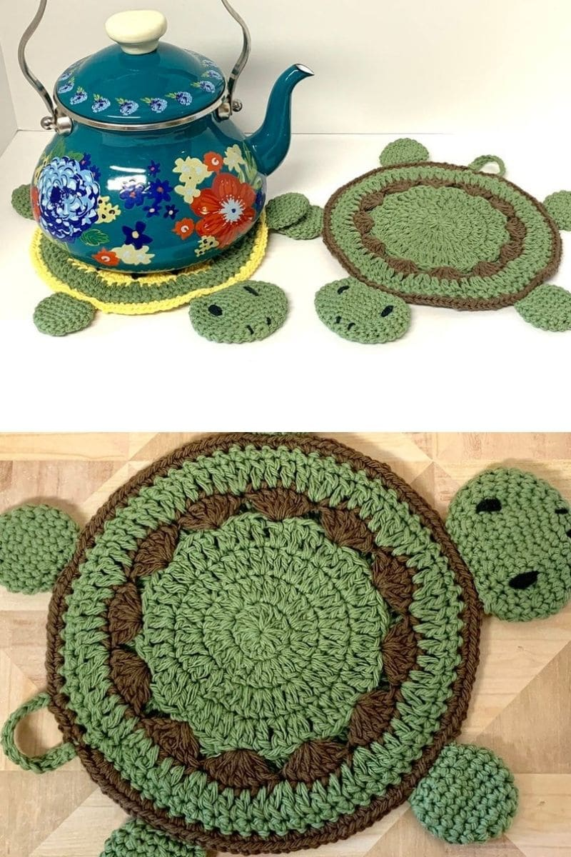 Turtle crochet potholder