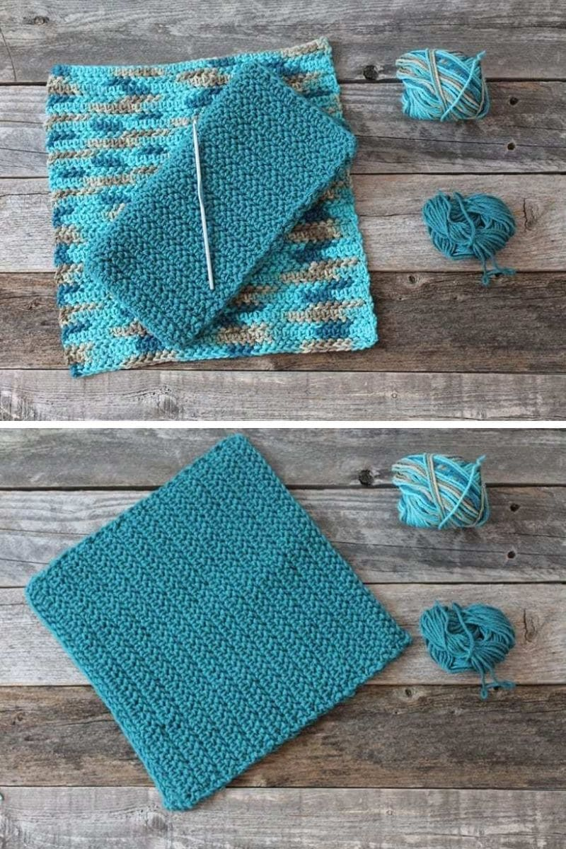 Teal crochet potholder pattern