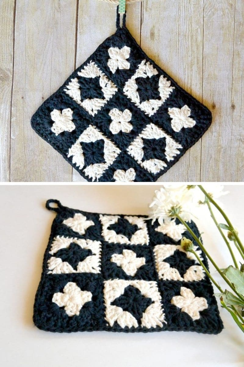 Black and white potholder