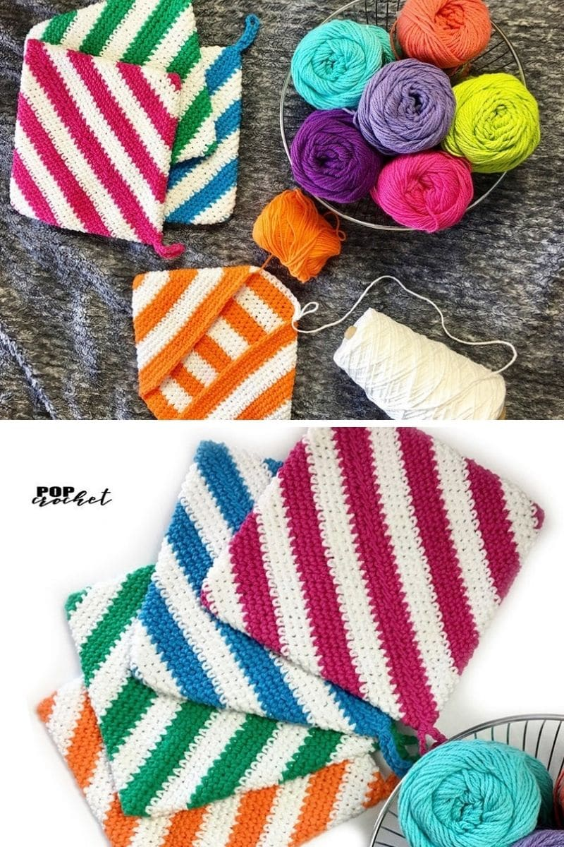 Colorful sttriped potholder