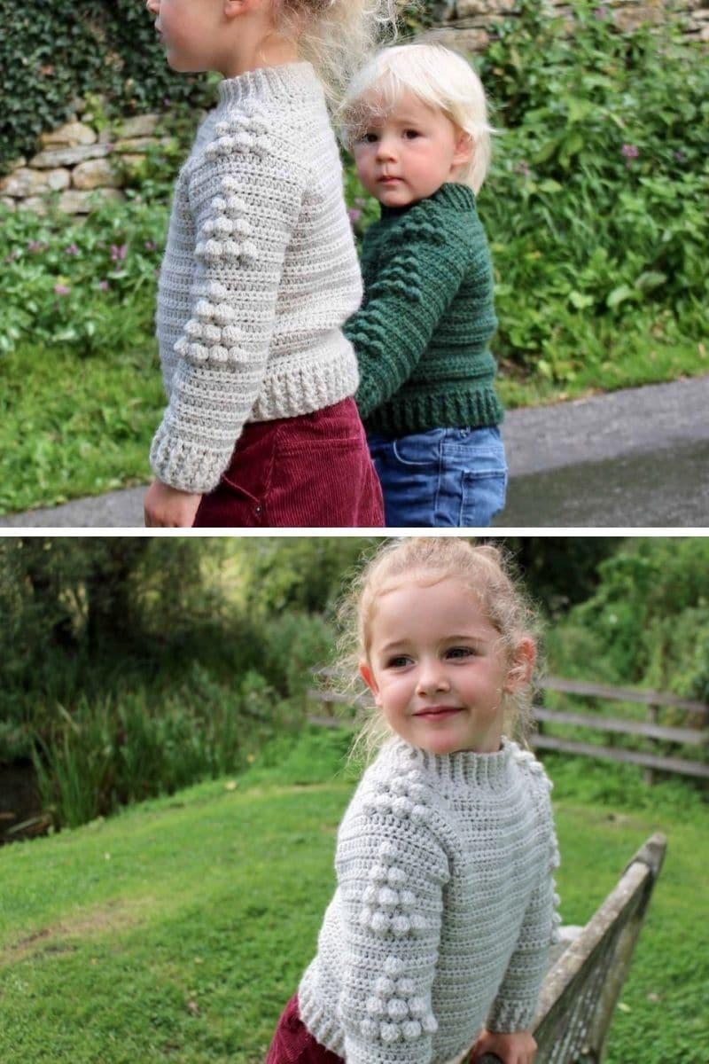 Girl wearing crochet sweater
