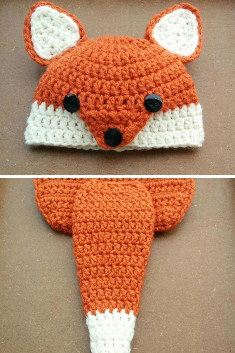 Crochet fox hat and diaper cover