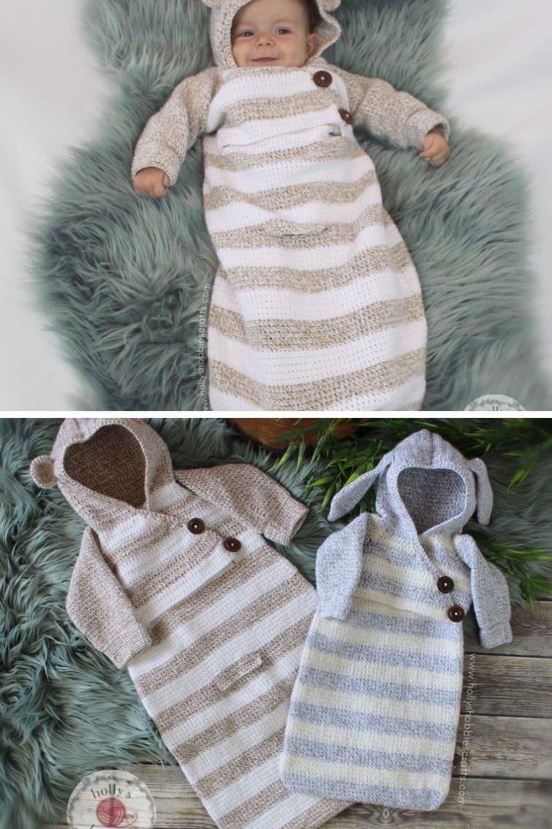 Crochet baby coccoon