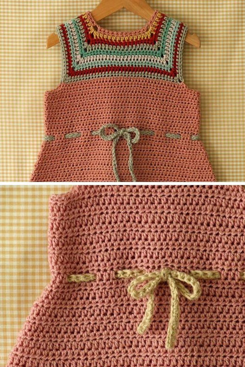 Crochet baby dress on hanger