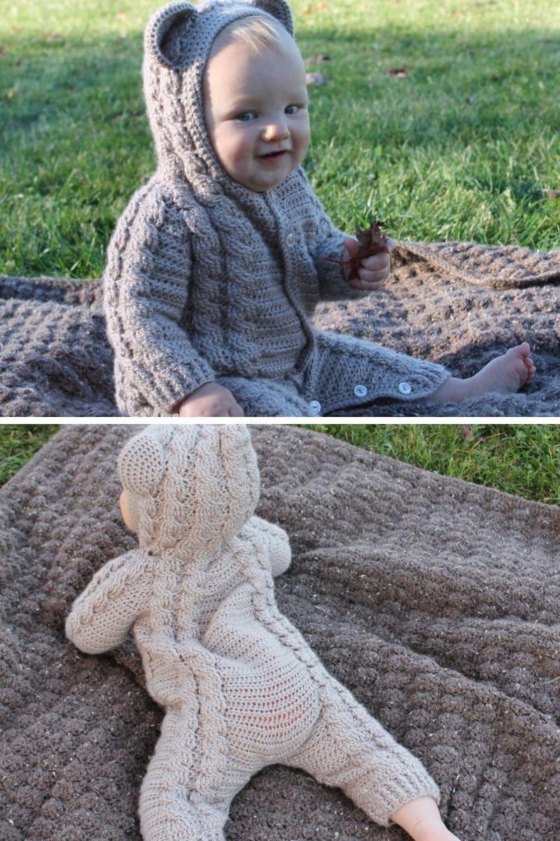 Baby in crochet bear suit