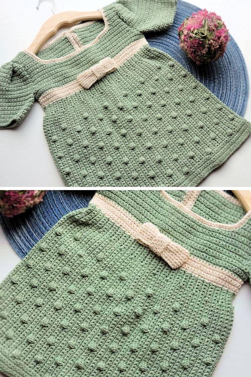 Crochet pea green dress