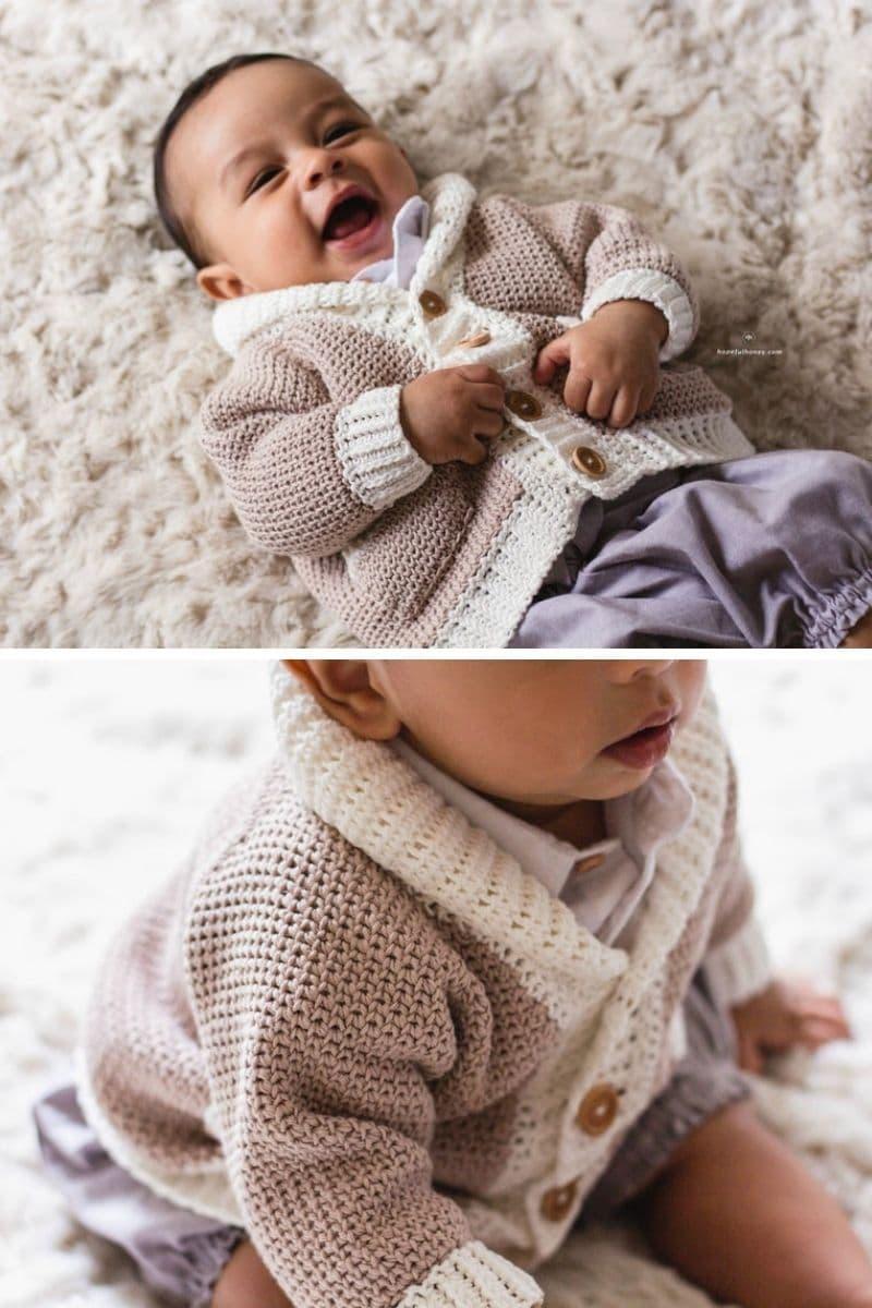 Baby wearing crochet cardigan