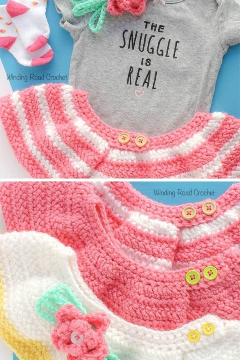 Pink and white crochet skirt