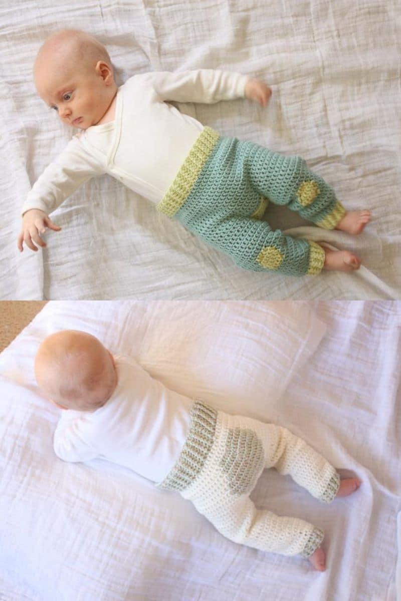 Baby wearing crochet pants