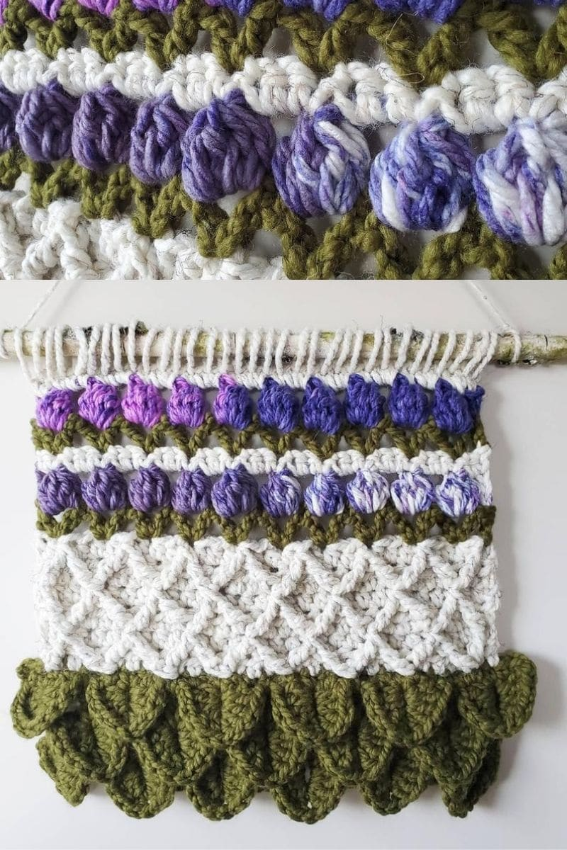 Purple and green wall hanging