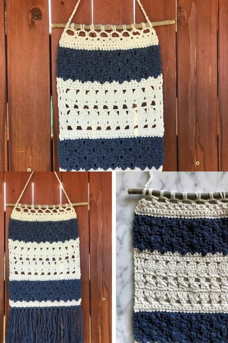 Blue and cream wall hanging