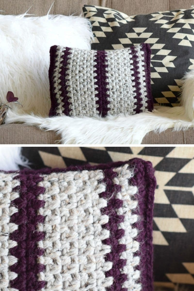 Crochet striped pillow