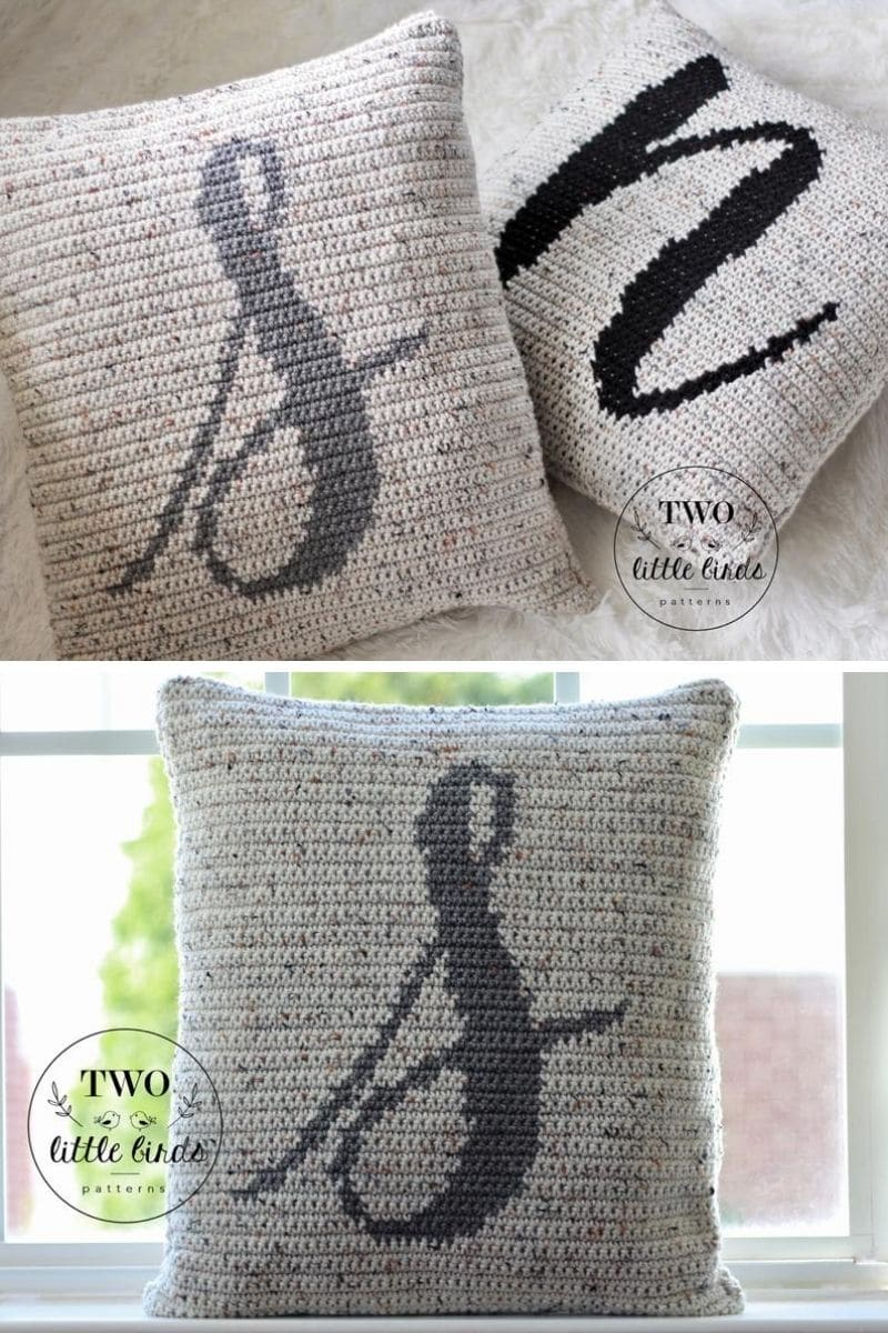 Grey monogram pillow