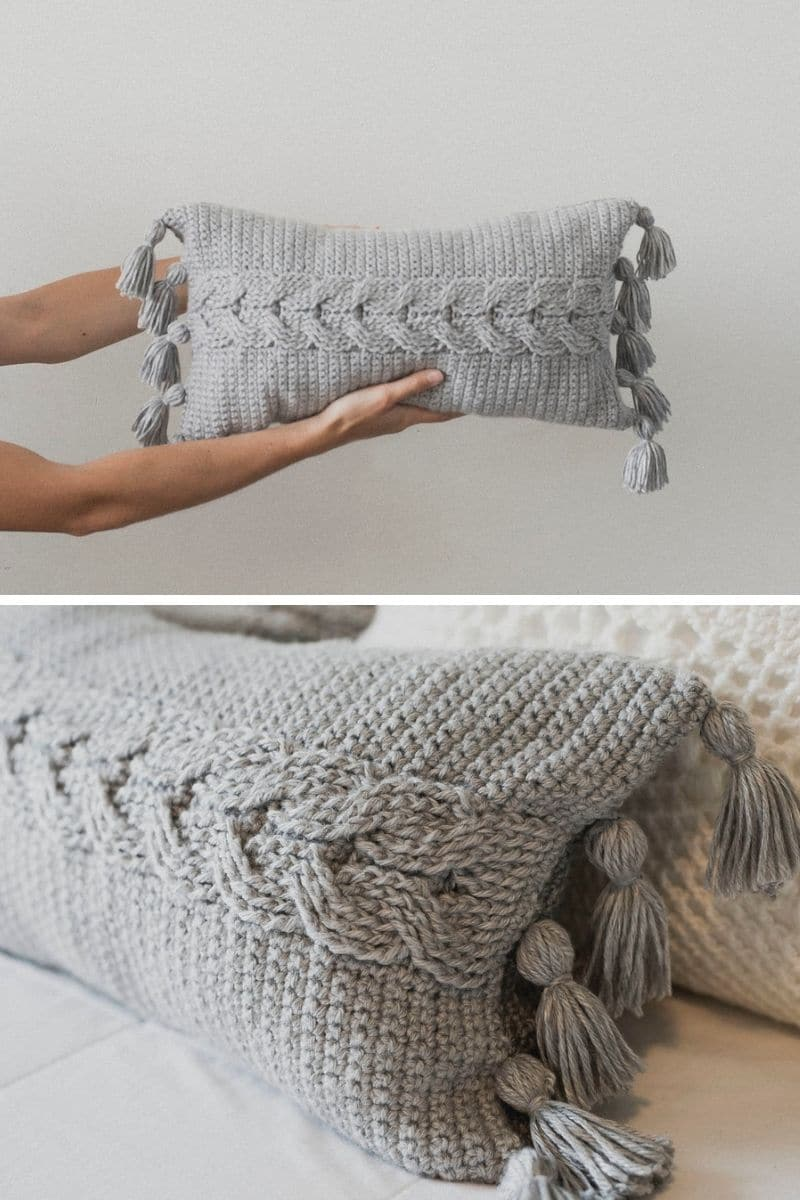 Grey cable throw pillow