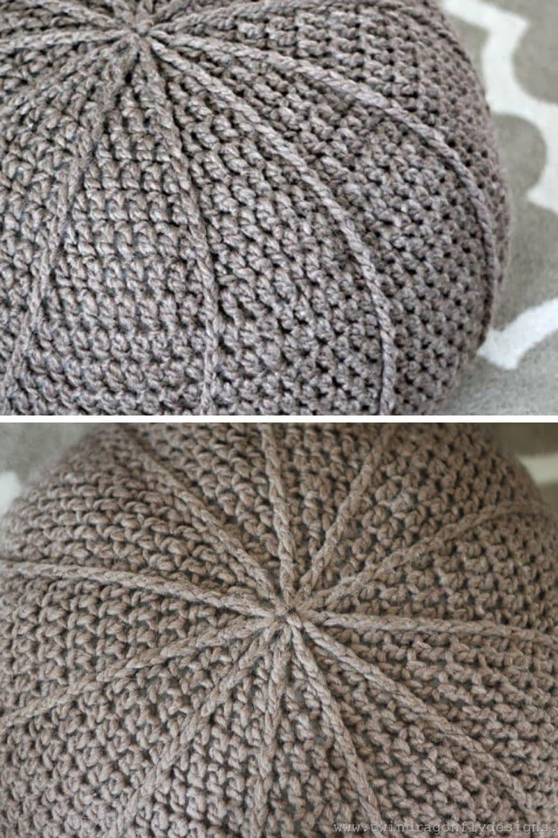 Grey crochet ottoman