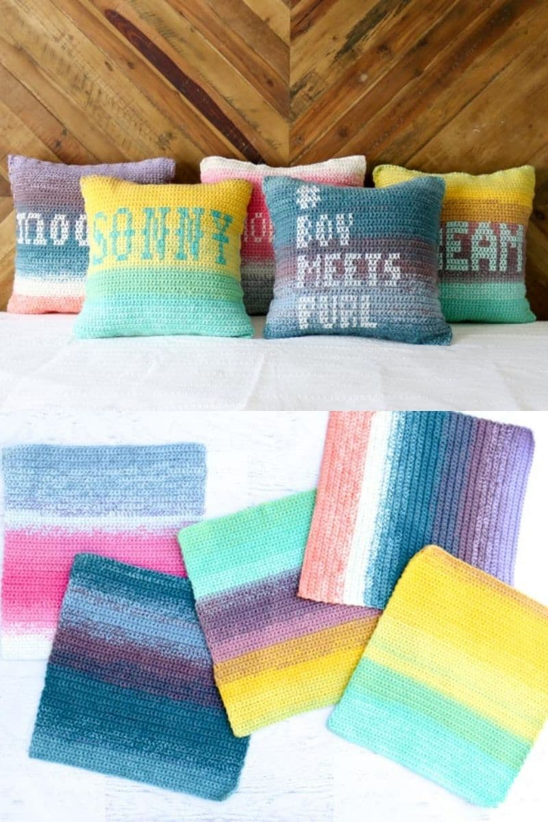 Ombre quote pillows on bed