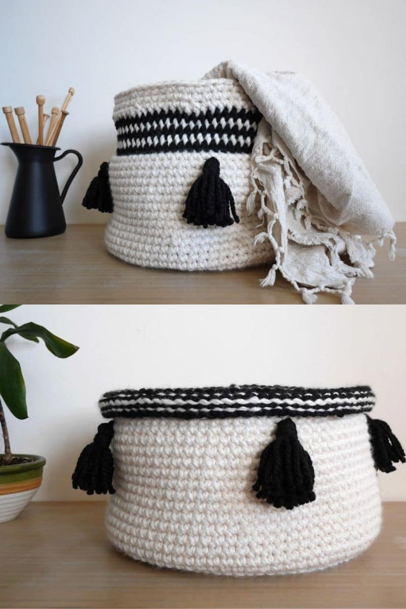 Black and white baskets on table