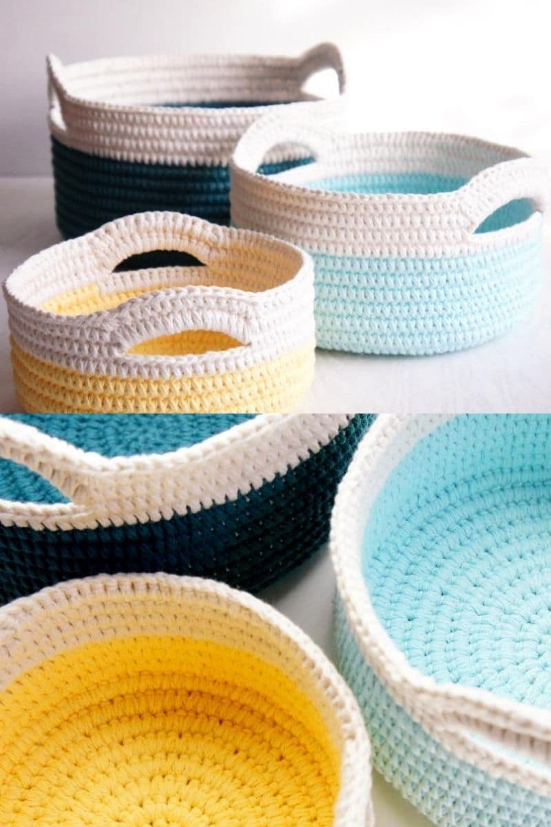 Colorful baskets with handles