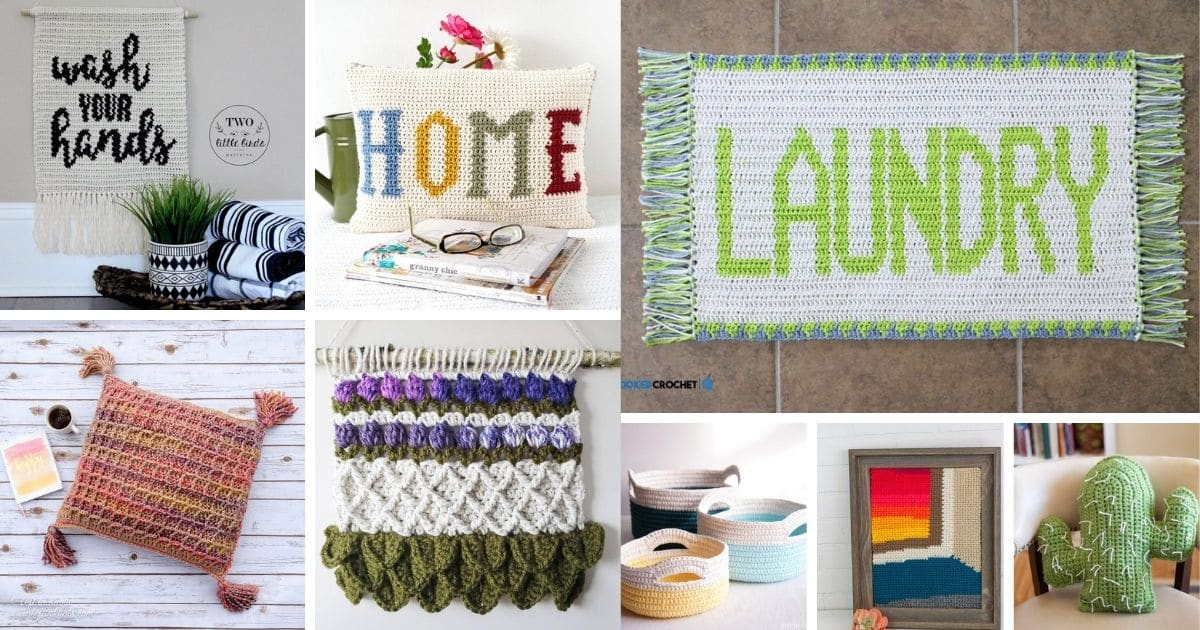 Crochet home decor collage