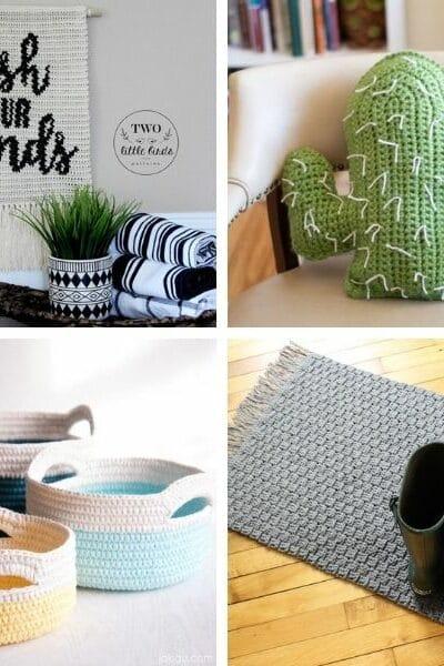 Crochet home decor collage