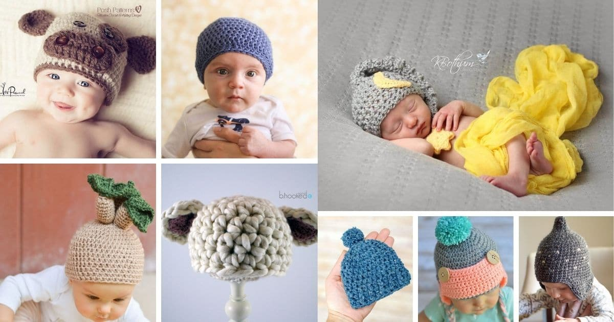 Crochet baby hat patterns collage