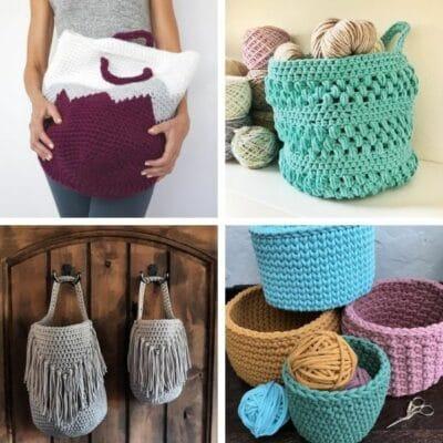 Crochet basket patterns collage