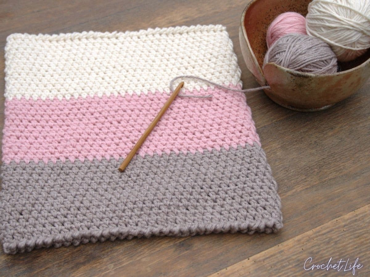 Pink grey and ivory cowl